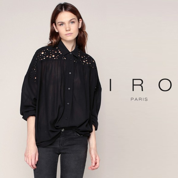 a25115f1 IRO Tops | Black Ornella Embroidered Eyelet Blouse 38 | Poshmark